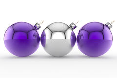Three Purple and Silver Christmas Baubles Stock Photography