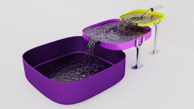 Three Purple and Yellow Square Bowls Almost Full where Water fil Stock Photos
