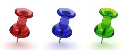 Three pushpins. 3d render on white Royalty Free Stock Photo