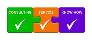 3 Puzzle Buttons showing Consulting Service Know-How. Three Puzzle Buttons with tick symbol showing Consulting Service Know-How Royalty Free Stock Images