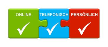 3 Puzzle Buttons showing Contact Online By Phone or Personally  german. Three Puzzle Buttons with tick symbol showing Contact Online, By Phone or Personally in Royalty Free Stock Image
