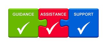 3 Puzzle Buttons showing Guidance Assistance Support. Three Puzzle Buttons with tick symbol showing Guidance Assistance Support stock illustration