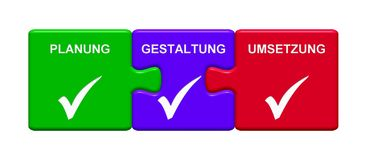 3 Puzzle Buttons showing Planning Composing Implementation german. Three Puzzle Buttons with tick symbol showing Planning Composing Implementation Stock Images