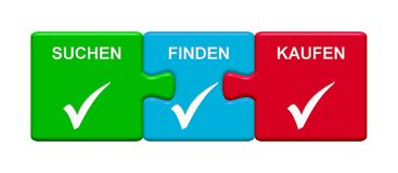 3 Puzzle Buttons showing Search Find Buy german. Three Puzzle Buttons with tick symbol showing Search Find Buy in german language Royalty Free Stock Image