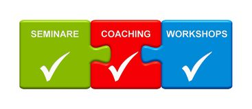 3 Puzzle Buttons showing Seminars Coaching Workshops german. Three Puzzle Buttons with tick symbol showing Seminars Coaching Workshops in german language Stock Photos