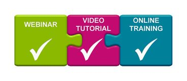3 Puzzle Buttons showing Webinar, Video Tutorial and Online Training. Three Puzzle Buttons with tick symbols showing Webinar, Video Tutorial and Online Training vector illustration