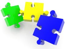 Three puzzle pieces in different colors. In background vector illustration