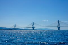 Three Pylons Of The Cable-Stayed Bridge Royalty Free Stock Photo