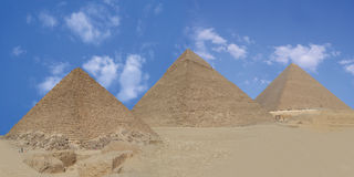 Three pyramid. Panoramic view of giza pyramids , egypt Stock Images