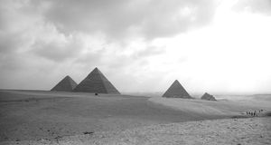 The three Pyramides of Giza. Royalty Free Stock Photography