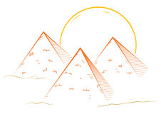 Three pyramids. Illustration of famous great pyramids in egypt Stock Photos