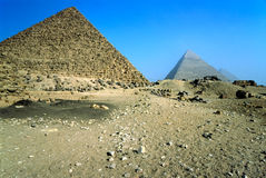The three pyramids, Giza, Egypt. Royalty Free Stock Photos