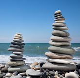 Three pyramids of stones for meditation Stock Images