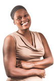 Three Quarter Portrait of African Lady on White. Stock Photography