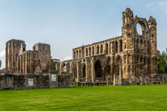 Three quarter view of Elgin cathedral in northern Scotland. Elgin, Scotland - September 18, 2014: Landscaped three quarter view of ruinous Elgin cathedral  with Royalty Free Stock Photography