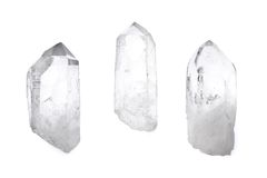 Three quartz crystals Stock Photos