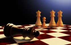 Three queens. Chess. Three queens and a pawn on a chessboard. The black King has lost Stock Image