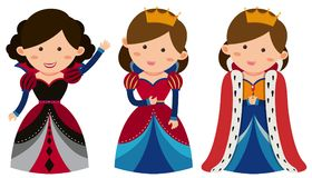 Three queens on white background Stock Photos
