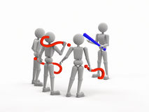 Three questions one answer. Abstract puppet people. render 3D illustration, three person holding question mark, one man holding exclamation mark,  Isolated Royalty Free Stock Photography