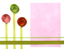 Three quilled paper flowers for background Stock Photos