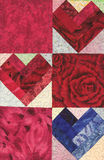 Three Quilted Hearts. For Valentines Royalty Free Stock Images