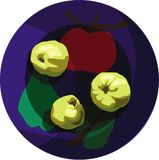 Three quince. On bright-colored plate Stock Images