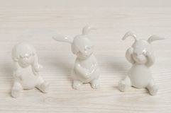 Three rabbits - Don't hear, don't see, don't talk Stock Image
