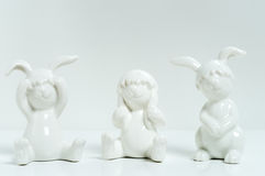 Three rabbits - Don't hear, don't see, don't talk Royalty Free Stock Photography