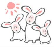 Three rabbits and sun Royalty Free Stock Photography