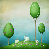 Three rabbits and trees Royalty Free Stock Photos