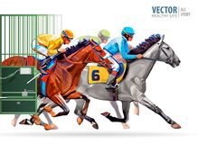 Three racing horses competing with each other, with motion blur to accent speed. Start gates for horse races the. Traditional prize Derby. Vector illustration Stock Image