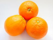 Three radiant Oranges. Photo of a beautiful and radiant oranges Stock Images