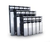 Three radiators on white background Royalty Free Stock Images