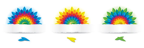 Three Rainbow Flowers. Illustration of colorful flowers. This file has shadows Royalty Free Stock Image