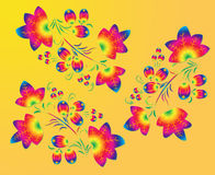 Three rainbow  patterns  in the  Khokhloma  style. Royalty Free Stock Images