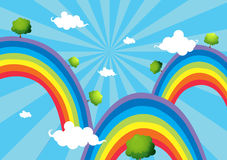 Three rainbows Stock Images