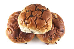 Three raisin buns Stock Image