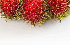 Three Rambutans. On a white background Royalty Free Stock Images