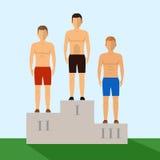 Three ranking winners standing on the winning podium Royalty Free Stock Image