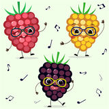 Three raspberries Smiley in cartoonish power. Three raspberries Smiley in glasses dance in cartoonish power Royalty Free Stock Photography