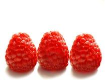 Three raspberry berries royalty free stock photos