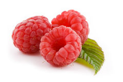 Three raspberry. Three fresh raspberry fruit isolated on white Royalty Free Stock Photography