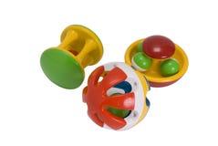 Three rattles for newborns Royalty Free Stock Photos