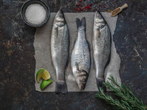 Three raw fish sea bass and other ingredients on dark vintage background Stock Images
