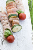Three raw meat kebabs for grill, outdoor Stock Image