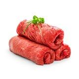 Three raw rouladen beef isolated Stock Photos