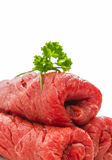 Three raw roulades beef isolated, soft focus Royalty Free Stock Photo