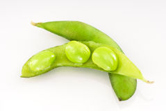 Three Raw Soy Beans in Pea Pod Stock Photography