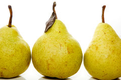 Three real-life pears on isolated white Royalty Free Stock Photography
