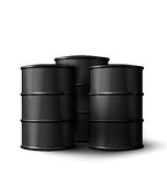 Three Realistic Black Metal of Oil Barrels. Illustration Three Realistic Black Metal of Oil Barrels  on White Background - Vector Royalty Free Stock Photography